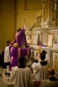 Tridentine Latin mass at Saint Mary's Church in Washington, DC.